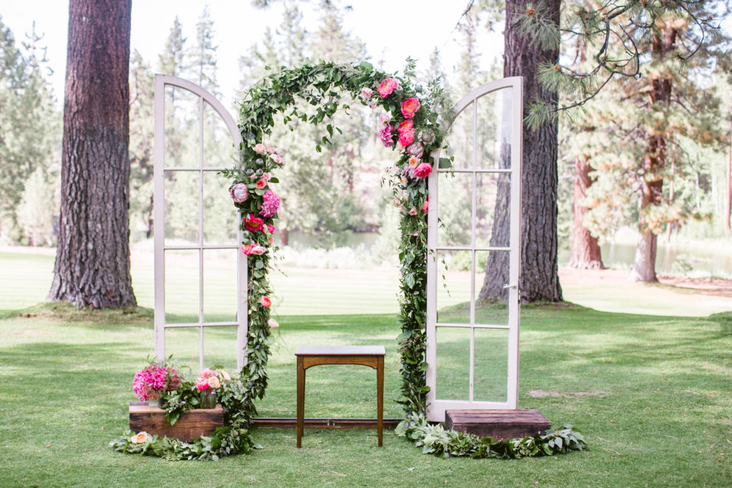 Petal Works floral arch for ceremony