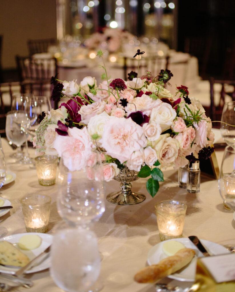 Reception table for a San Francisco wedding.