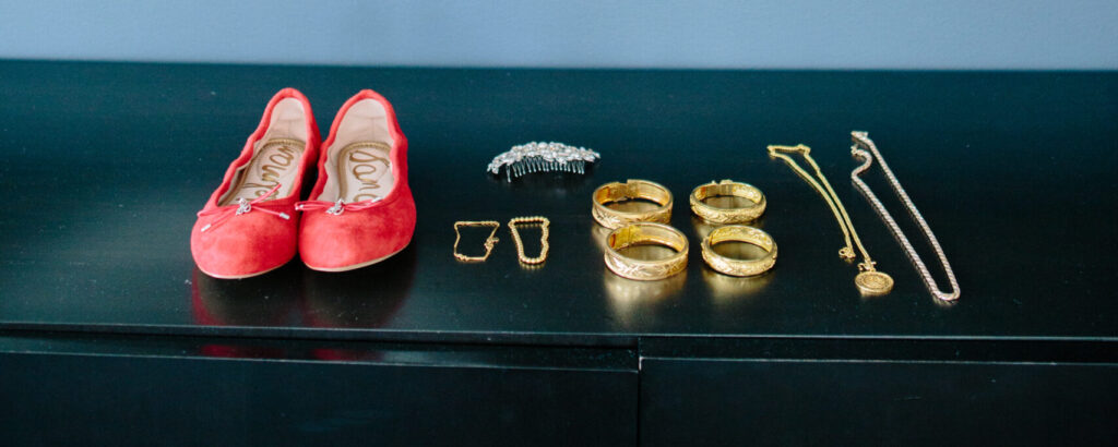 Red and gold accessories for traditional tea ceremony