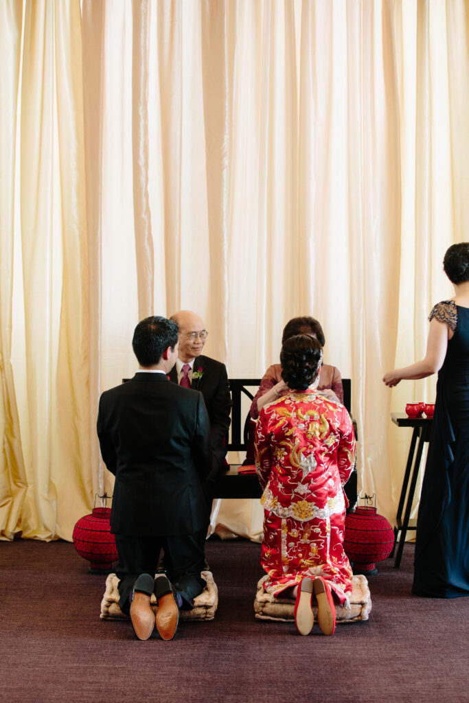 Traditional tea ceremony with bride and groom
