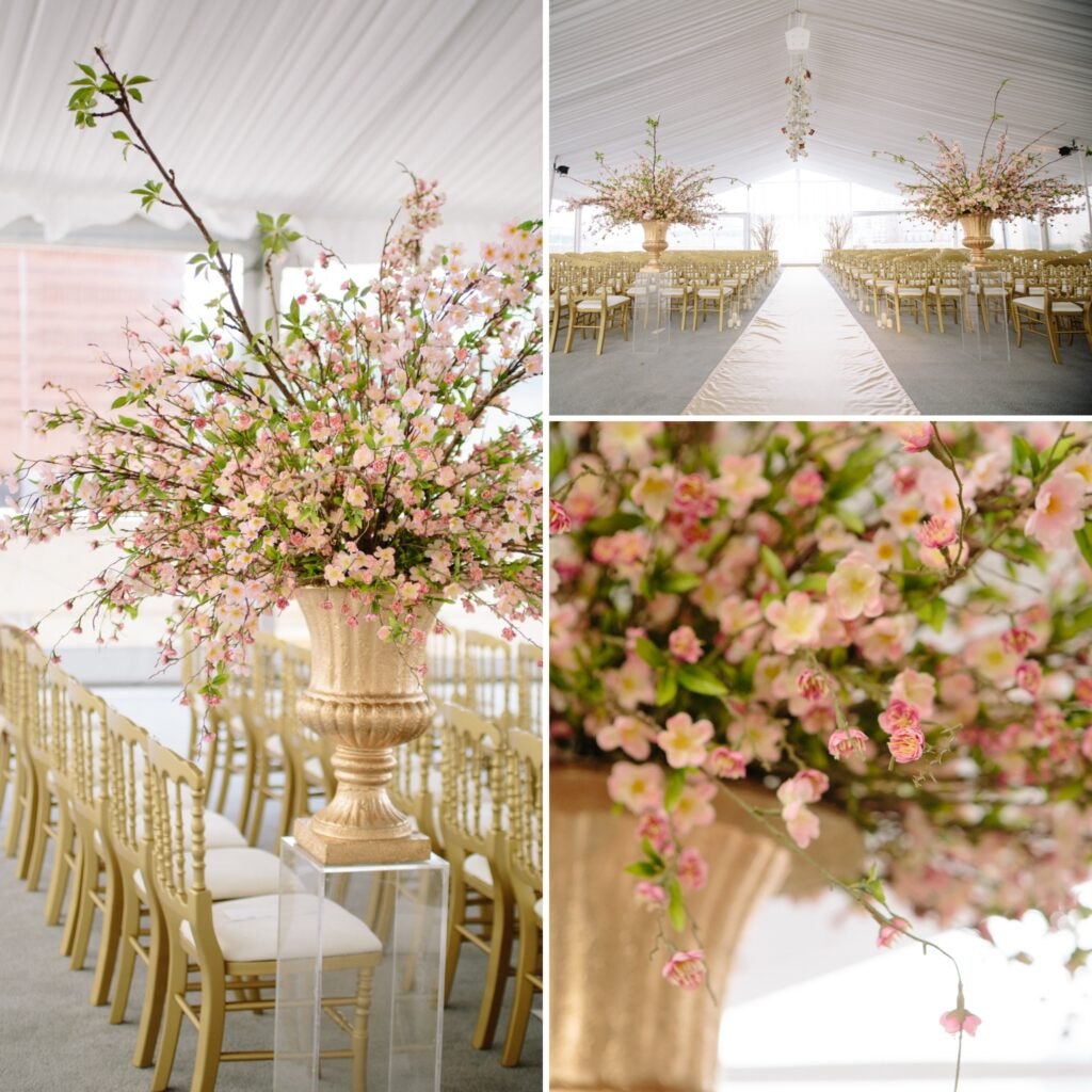 Wedding ceremony with gold accents and cherry blossoms