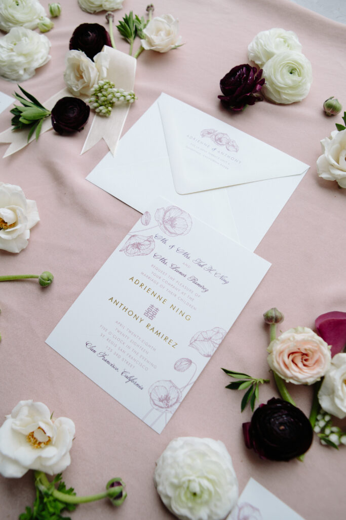 Stationary and wedding florals