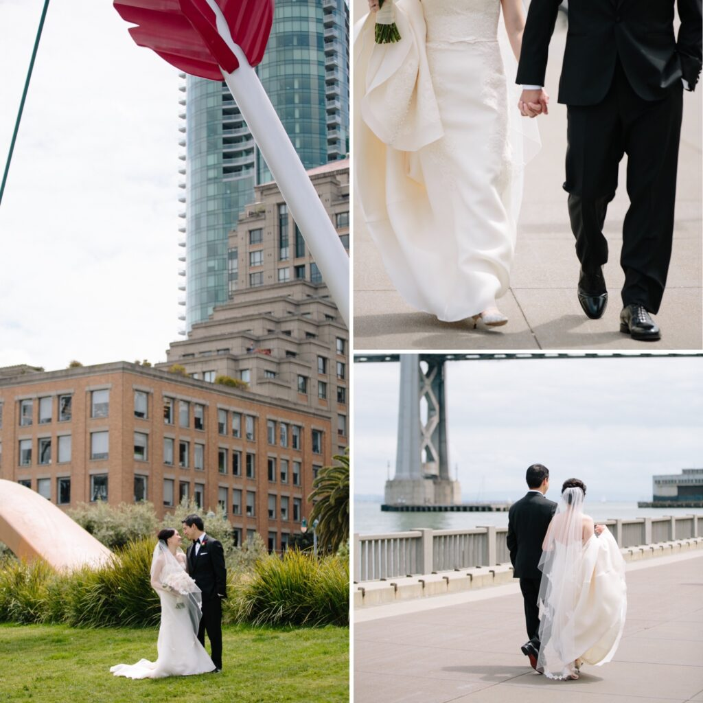 Bride and groom walking through San Francisco along the water front